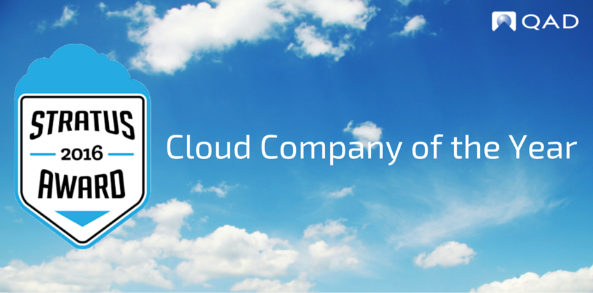 QAD Wins Stratus Award for Cloud Company of the Year