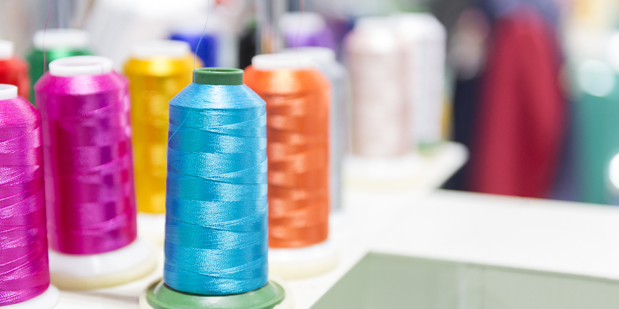 spools of thread for clothing manufacturing