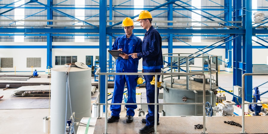 manufacturing, plant, hard hats, workers
