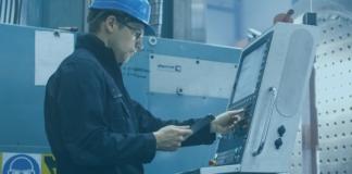 blue, worker, hardhat, machine