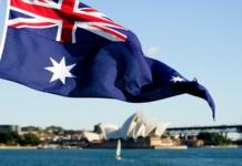 australia, flag, sydney, opera house