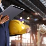quality management, metrics, tablet, warehouse, hard hat