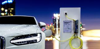 peak automotive production, electric car, cityscape, plug-in