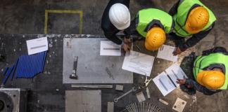 hard hats, planning, manufacturing strategies, teamwork