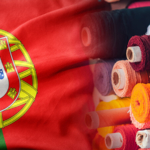 portuguese flag and bolts of fabric