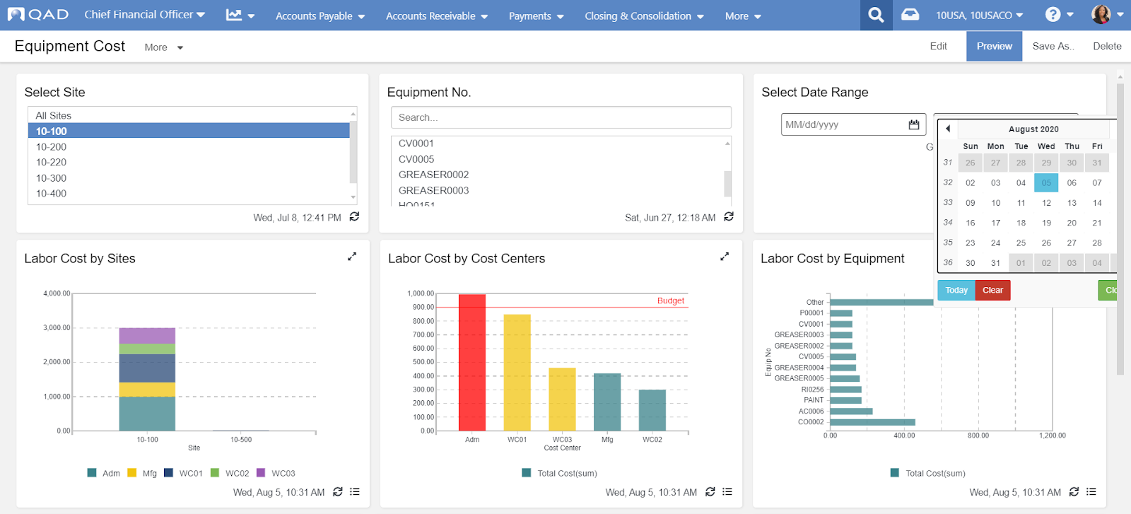 manufacturing equipment, equipment cost, action center, insights, KPIs, metrics, dashboard